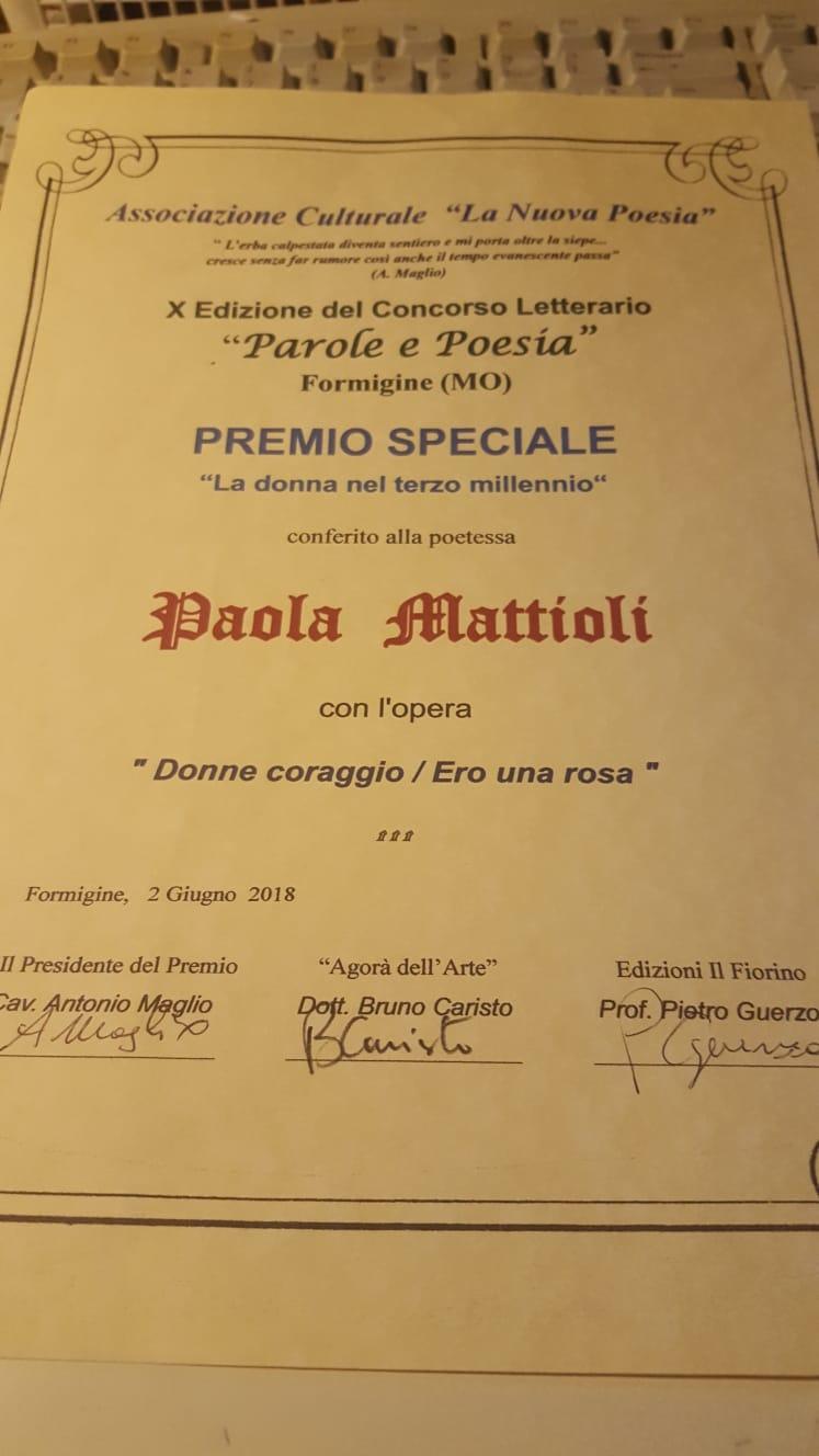 Paola Mattioli donna del terzo millennio 2018